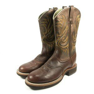Ariat Round Toe Leather Western Cowboy Boots